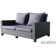 Famous Home Rattan Lounge Sofa 200cm Couch Futon  Couchgarnitur Schwarz Schwarz