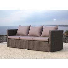 Famous Home Rattan Lounge Sofa 200cm Pepe Braun  Couch Futon Couchgarnitur Braun