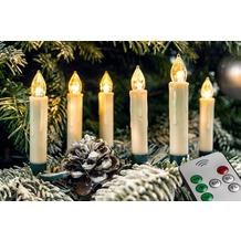 FHS LED Christbaumkerzenset mit 20 kabellosen Kerzen, außenbereich