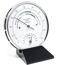Fischer Messtechnik Wohnklima-Hygrometer mit Thermometer Echtholzsockel