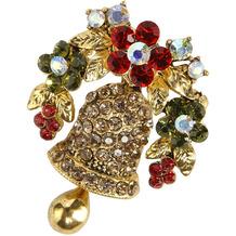 Fitz & Floyd Brosche Glocke Gold 4 x 4 cm