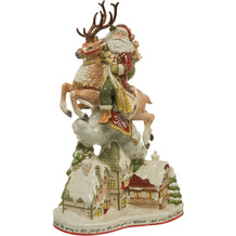 Fitz & Floyd Figur Santa mit Häusern 47,0 cm