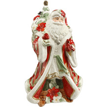 Fitz & Floyd Spieluhr Santa mit Geschenken auf dem Rücken 26,0 cm