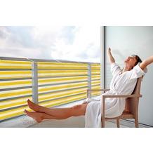 Floracord HDPE Balkonumrandung 90cm x 500 cm gelb - weiß gestreift inkl. Kordeln zum befestigen