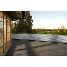 Floracord HDPE Balkonumrandung 90cm x 500 cm grau - weiß gestreift inkl. Kordeln zum befestigen