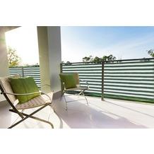 Floracord HDPE Balkonumrandung 90cm x 500 cm grün - weiß gestreift inkl. Kordeln zum befestigen
