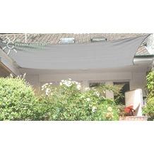 Floracord HDPE Vierecksonnensegel grau 400 x 500 cm Wind- u. Wasserdurchlässig