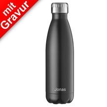 FLSK Isolierflasche 500ml Black schwarz MIT GRAVUR (z.B. Namen)