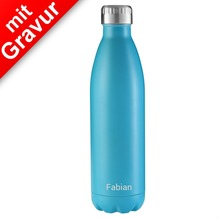 FLSK Isolierflasche 750ml Carribean blau MIT GRAVUR (z.B. Namen)