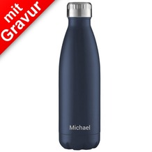 FLSK Isolierflasche 750ml Midnight Blue MIT GRAVUR (z.B. Namen) dunkelblau