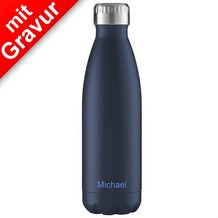 FLSK Isolierflasche 750ml Midnight Blue MIT GRAVUR (z.B. Namen) dunkelblau