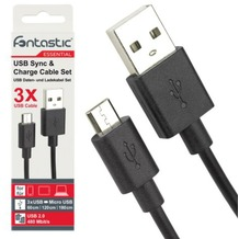 Fontastic Essential Essential Datenkabel - Set 3-teilig - schwarz - 1x60, 1x120, 1x180cm