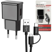 Fontastic Essential Netzteil Speed Fast Charge 3 USB 2.4A schwarz inklusive Micro-USB/Type-C Datenkabel 1.2m