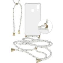 Fontastic Hybridcover Thea transparent mit Kordel weiß / sw komp. mit Samsung Galaxy A40