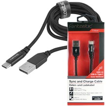 Fontastic Prime Datenkabel Aramid USB 2.0 A > Type-C 1.2m Schwarz Kevlar verstärkt - Alu-Gehäuse - Nylon-Ummantelung