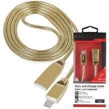 Fontastic Prime Datenkabel Shine MicroUSB 1.2m Cha.-Gold Stecker Alu-Gehäuse Kabel Metall Ummantelung