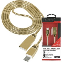 Fontastic Prime Datenkabel Shine USB A > Type-C 2.0 1.2m Cha.-Gold Stecker Alu-Gehäuse Kabel Metall-Ummantelung