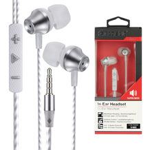 Fontastic Prime In-Ear Stereo-Headset V465 3.5mm ws/silber 3-Tasten-Fernbedienung, Mic, 3-Paar Ohrpasstücke