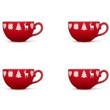 Friesland 4er Set Kaffee- Obertasse, Happymix, Friesland, 0,24l Weihnachten Rot