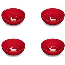 Friesland 4er Set Müslischale, Reh, Happymix, Friesland, 15 cm Weihnachten Rot