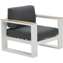 Garden Impression Cube lounge Sessel mat wit/ reflex bl/ teak look