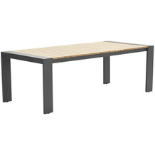 Garden Impression Francisco dining Tisch 200x100 carbon black/ teak look