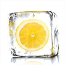 Glas-Art Floatglas Bild Lemon sorbet 20 x 20 cm