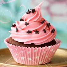 Glas-Art Floatglas Bild Pink muffin 20 x 20 cm
