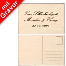 Glorex Ansichtskarte MIT GRAVUR (z.B. Namen) auf Vorderseite aus Sperrholz im Format A6 aus Holz unbehandelt
