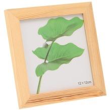 Glorex Bilderrahmen quadratisch mit Glas passend für Fotos im Format 12x12cm aus Holz Kiefer unbehandelt