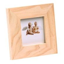 Glorex Bilderrahmen mit Glas passend für Fotos im Format 3,7x3,7cm aus Holz Kiefer unbehandelt