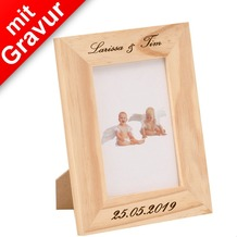 Glorex Bilderrahmen mit Glas MIT GRAVUR (z.B. Namen) passend für Fotos im Format 9x13cm aus Holz Kiefer unbehandelt