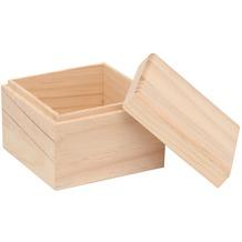 Glorex Holzbox quadratisch L10,5xB10,5xH8cm Geschenkbox aus Holz Kiefer unbehandelt
