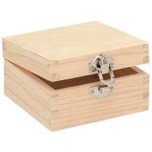 Glorex Holzbox quadratisch L10xB10xH5,5cm Geschenkbox aus Holz Kiefer