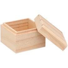 Glorex Holzbox quadratisch L7,5xB7,5xH6cm Geschenkbox aus Holz Kiefer unbehandelt