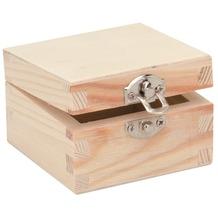 Glorex Holzbox quadratisch L7xB7xH4cm Geschenkbox aus Holz Kiefer
