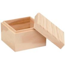 Glorex Holzbox quadratisch L9xB9xH7cm Geschenkbox aus Holz Kiefer unbehandelt