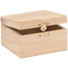 Glorex Holzbox rechteckig L12,5xB11,5xH7,5cm Geschenkbox aus Holz Kiefer unbehandelt