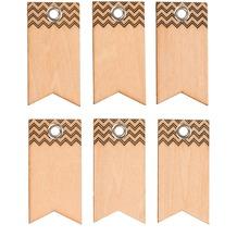 Glorex Holzfähnchen mit Loch, 6 Stück L4,3xB2,2cm, aus Holz Linde unbehandelt, Geschenkanhänger