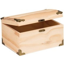 Glorex Schatztruhe L18xB12,5xH10cm, Geschenkbox aus Holz Kiefer unbehandelt