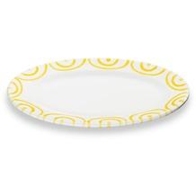 Gmundner Gelbgeflammt, Platte oval/ Fahne Gourmet (21x14cm)