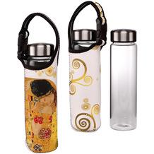 """Goebel Glasflasche mit Neoprenhülle Gustav Klimt - """"Der Kuss"""" 26,5 cm"""
