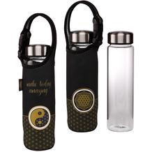 "Goebel Glasflasche mit Neoprenhülle Lotus - ""Yin Yang schwarz"" 26,5 cm"