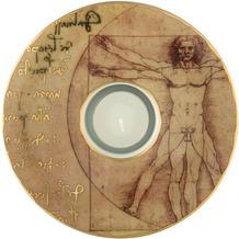 """Goebel Künstlerteelicht Leonardo da Vinci - """"Der vitruvianische Mensch"""" D  15,0 cm"""