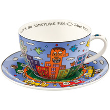"""Goebel Tee-/ Cappuccinotasse James Rizzi - """"Let's Go Out for Fun"""" 8,5 cm"""