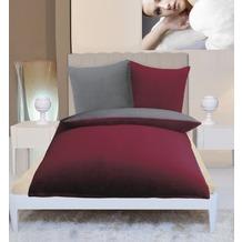 Gözze Wendebettwäsche in Cashmere-Qualität bordeaux/anthrazit 300 g/m² 155 x 220 cm Deckenbezug + 80 x 80 cm Kissenbezug