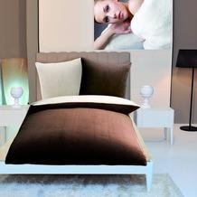 Gözze Wendebettwäsche in Cashmere-Qualität schoko-braun/wollweiß 300 g/m² 155 x 220 cm Deckenbezug + 80 x 80 cm Kissenbezug