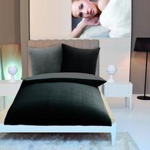 Gözze Wendebettwäsche in Cashmere-Qualität schwarz/anthrazit 300 g/m² 155 x 220 cm Deckenbezug + 80 x 80 cm Kissenbezug