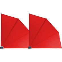Grasekamp 2 Stück Balkonfächer 120 x 120 cm Rot  mit Wandhalterung Trennwand Sichtschutz Rot