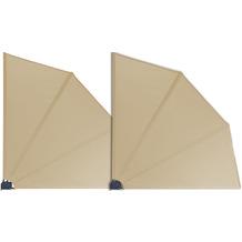 Grasekamp 2 Stück Balkonfächer 120 x 120 cm Sand  mit Wandhalterung Trennwand Sichtschutz Beige